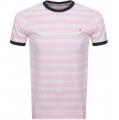 Product Image for Farah Vintage Belgrove Stripe T Shirt Pink